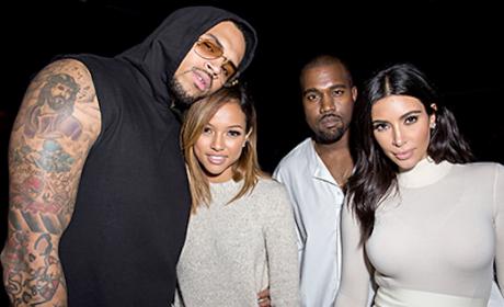 Kim Kardashian, Kanye West, Chris Brown, Karrueche Tran