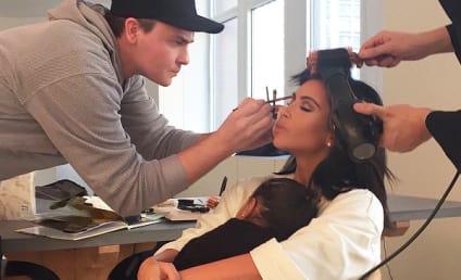Kim Kardashian Gets Glammed Up, Plays Mother