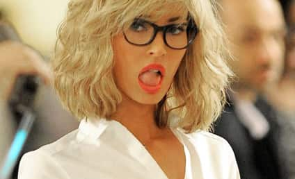 Megan Fox Rocks Blonde Wig, School Girl Uniform on Ninja Turtles 2 Set