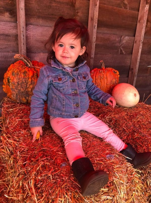 Ensley at a pumpkin patch