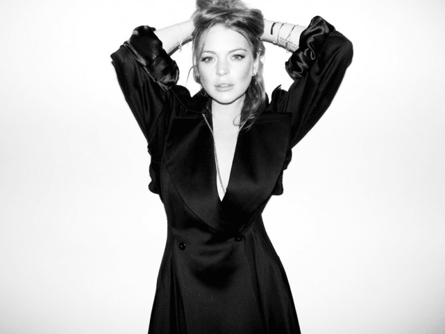 Lindsay Lohan Black-and-White Photo