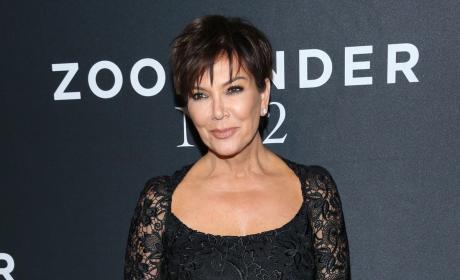 Kris Jenner in black lace dress