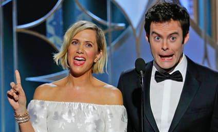 Kristen Wiig & Bill Hader Recite Fake Movie Lines, Make Push to Host 2016 Golden Globes