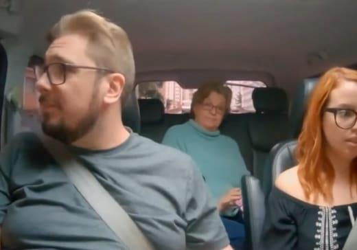 Colt Johnson, Debbie, and Jess Caroline awk car ride