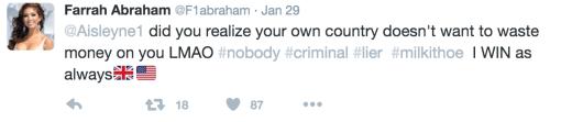 Farrah Abraham Fights With Fellow 'CBB' Star Aisleyne Horgan-Wallace