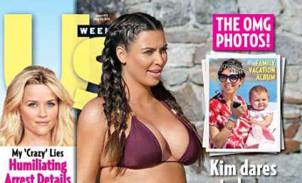 Kim Kardashian Bares Bikini Bump, Sort of Taunts Critics