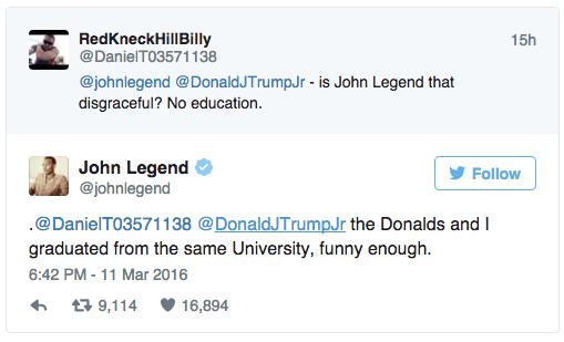 John Legend education tweet
