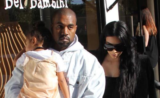 Kim Kardashian, Kanye West and daughter North