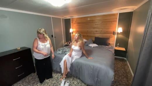 Natalie Mordovtseva in white summer dress with neighbor Tamara