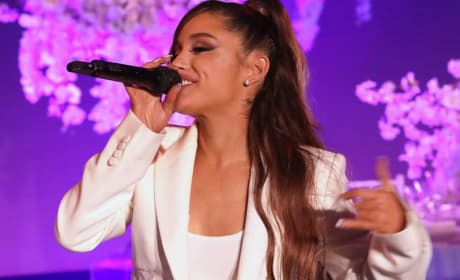 """Ariana Grande Performs """"Thank U, Next"""" for First Time, Nearly Falls on Her Face"""