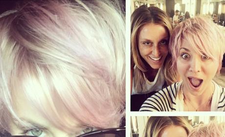 Kaley Cuoco Pink Hair