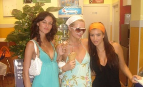 Caroline D'Amore, Paris HIlton, and Kim Kardashian