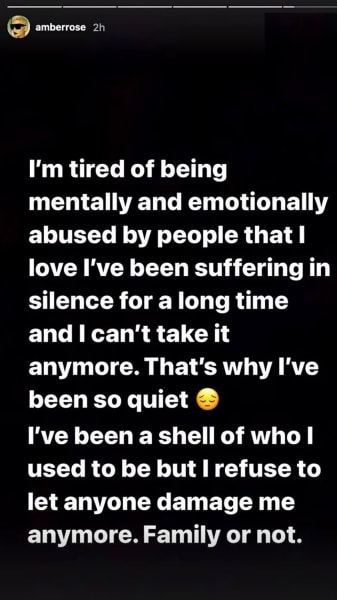 Amber Rose IG - tired of being emotionally abused