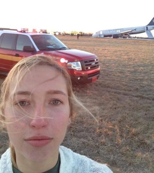 Plane crash selfie photo
