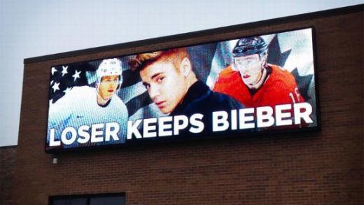 Justin Bieber Hockey Billboard