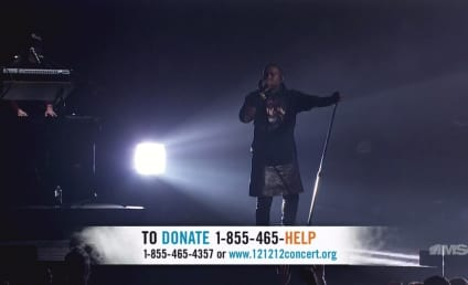 Kanye West Wears Skirt for 12-12-12 Concert Performance