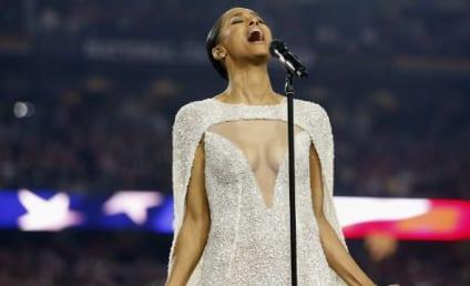 Ciara Sings National Anthem, Exposes Lots of Cleavage