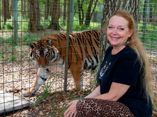 Carole Baskin And a Tiger