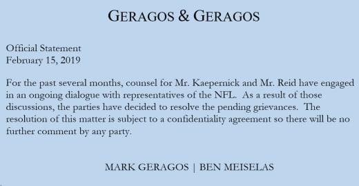 Colin Kaepernick attorney statement 15 february 2019