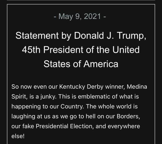 Donald Trump horse statement