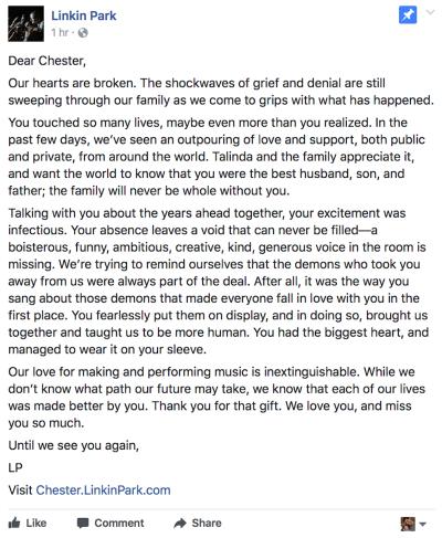 Chester Bennington of Linkin Park statement