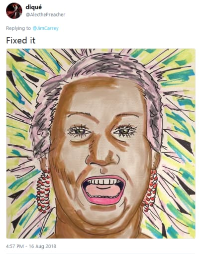 Aretha Franklin Jim Carrey Painting - Fixed