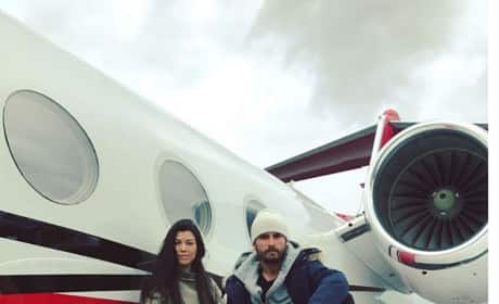 Kourtney Kardashian and Scott Disick on a Plane
