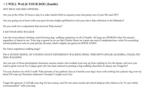 Dog Walker Craigslist Ad