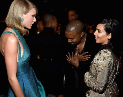 Taylor Swift, Kanye West, and Kim Kardashian