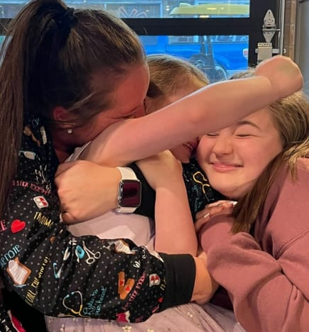 Kristina Shirley with Emilee and Leah Shirley on Mother's Day 2021