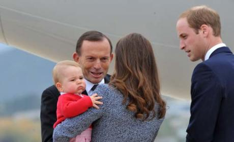 Prince William, Kate Middleton and Prince George Leave Australia