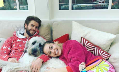 Miley Cyrus and Liam Hemsworth and a Dog