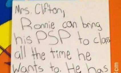 Kid Forges Note From Ronnie's Mom, Totally Fools Teacher (Not)