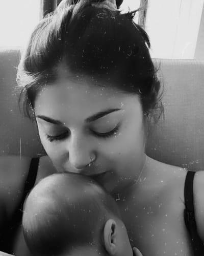 Loren Brovarnik Kisses Baby Shai Josef Brovarnik