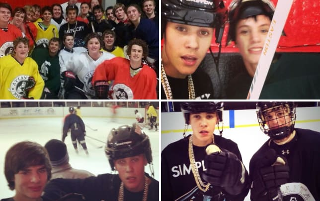 Justin bieber with hockey team