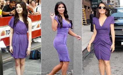 Purple Pretty-Off: Miranda Cosgrove vs. Kim Kardashian vs. Salma Hayek