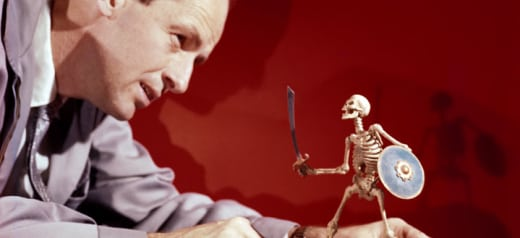 Ray Harryhausen with Skeleton