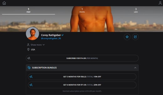 Corey Rathgeber OnlyFans page