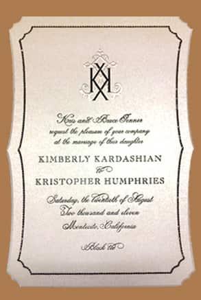 The Kim Kardashian Wedding Invitation