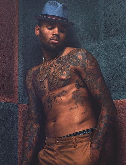 Chris Brown Shirtless, Tattoos
