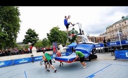 Man Uses Trampoline, Completes EPIC Slam Dunk