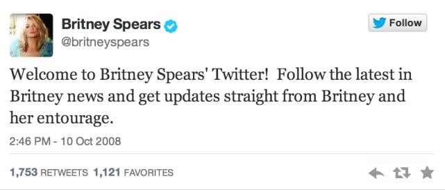 Britney's First Tweet