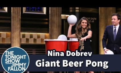Nina Dobrev and Jimmy Fallon Play Giant Beer Pong: Check Out the Amazing Comeback!