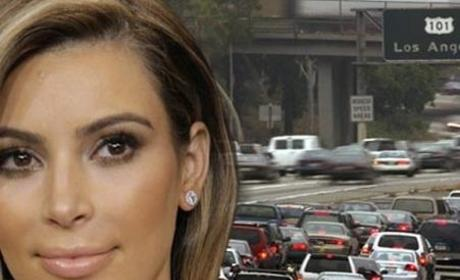 Kim Kardashian Pulled Over on Freeway, Mayhem Ensues