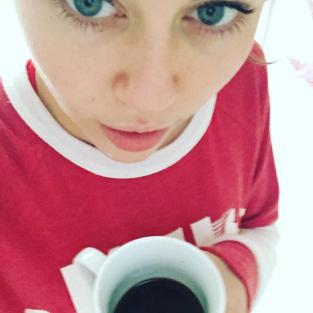 Miley Cyrus with Coffee