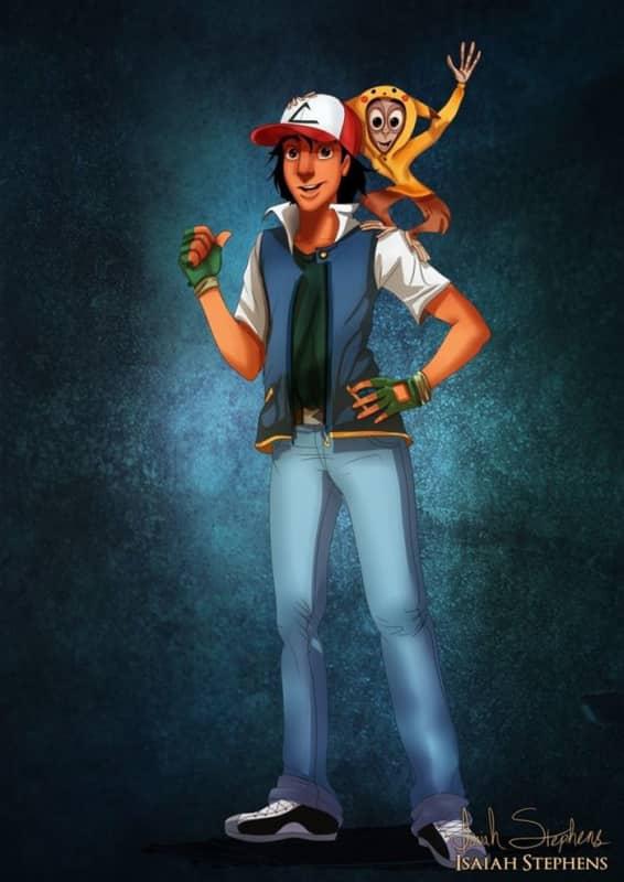 Aladdin and Abu as Ash and Pikachu