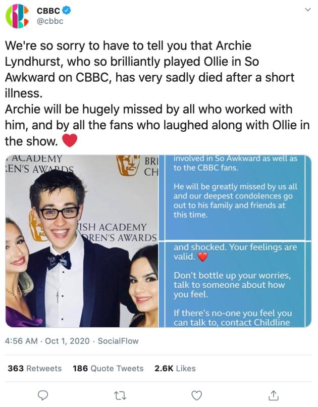 Archie Lyndhurst Star Of So Awkward Dead At 19 The Hollywood Gossip