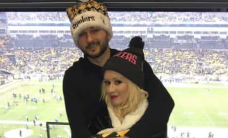 Matt Rutler and Christina Aguilera Watch Football